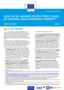 thumbnail of EMN Inform on Missing unaccompanied minors in the EU, Norway and the UK